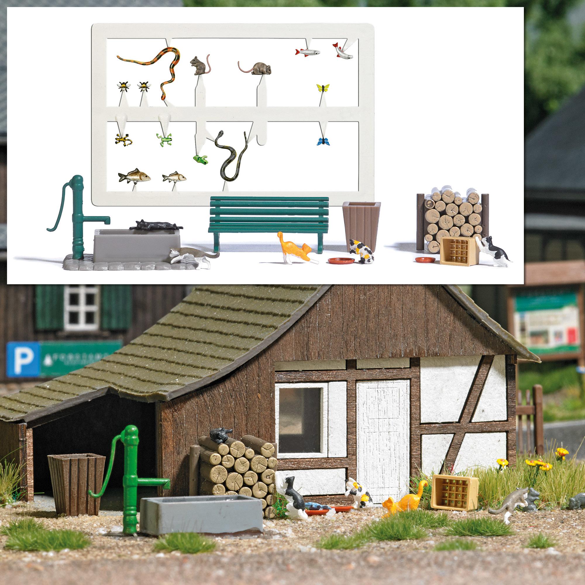 Busch 7921 Spoor H0 A-Set: Spielende Katzen, H0-1