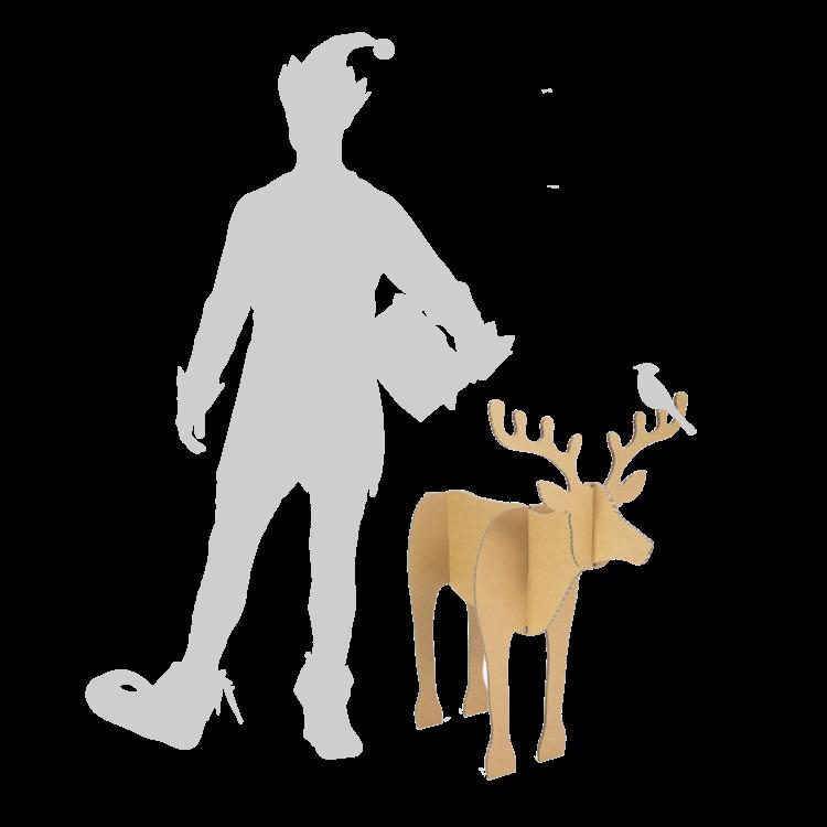 KarTent Kartonnen Kerst Rendieren - Set van 2