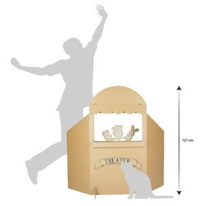KarTent Kartonnen Poppenkast Inclusief Speeldieren