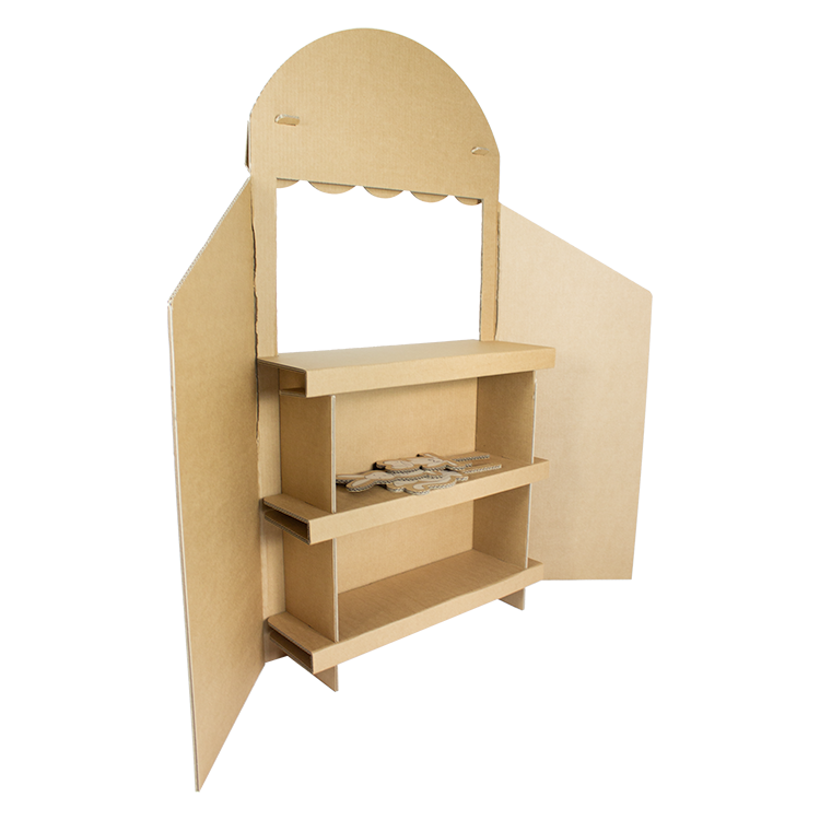 KarTent Cardboard Puppet Theater with three Puppet Animals