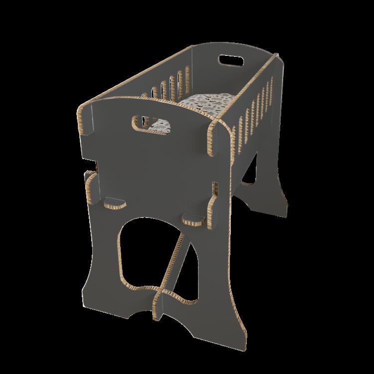 KarTent Kartonnen Babywieg Papercrib Zwart