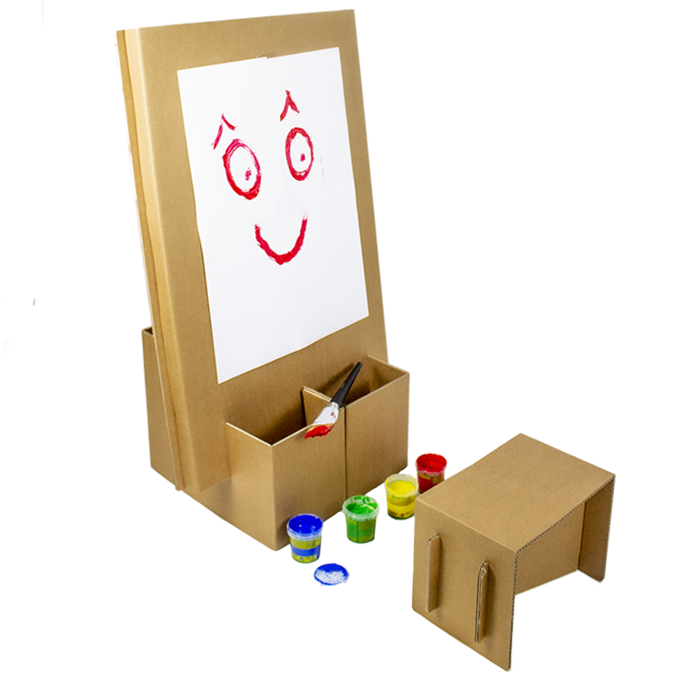 KarTent Cardboard Kids Painting Easel with Stool