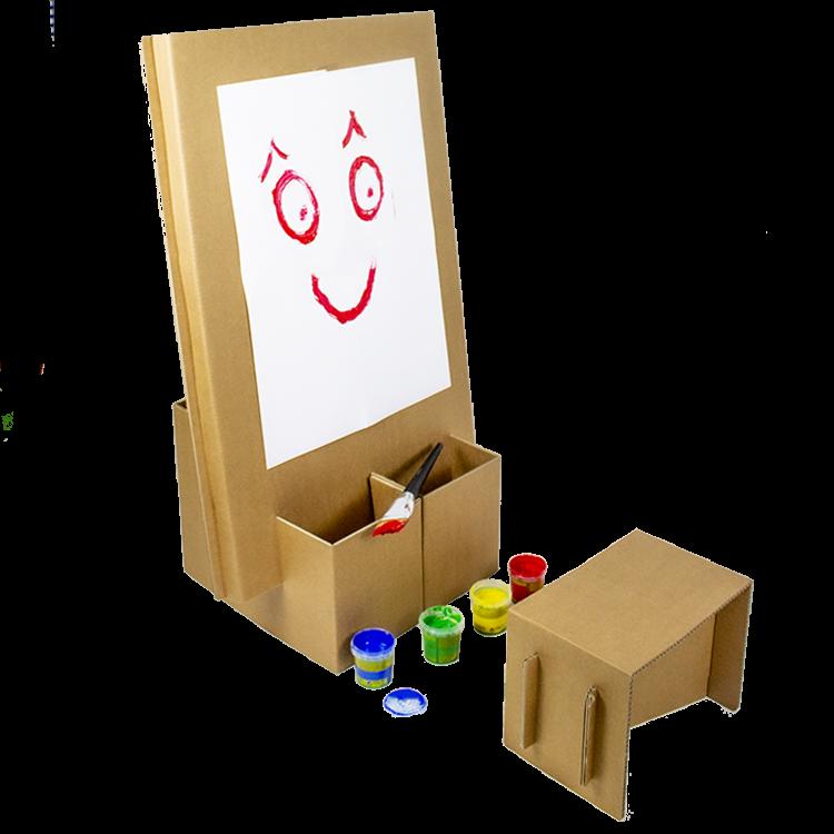 KarTent Kartonnen Kinder Schildersezel met Zitje