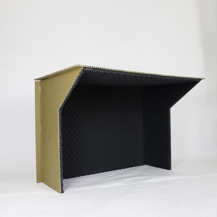 KarTent Cardboard Phonebooth for Desks with Nubbed Foam