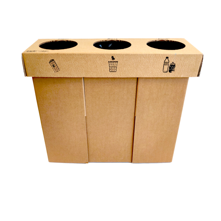 KarTent Cardboard Triple Sorting Bin