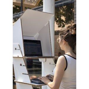 KarTent Kartonnen Zit Sta Bureau met Monitor Zonnescherm