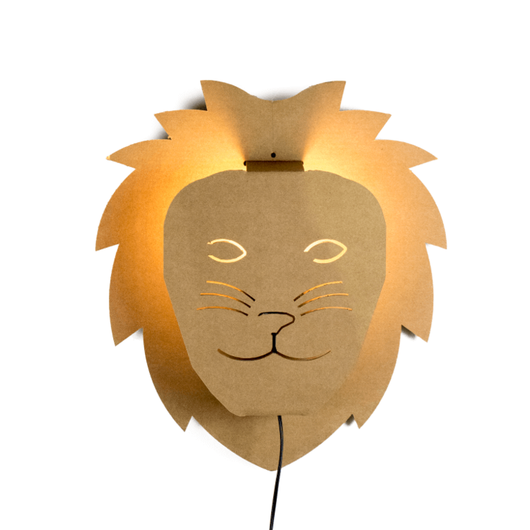 KarTent Kartonnen Wandlamp Kinderkamer Leeuw
