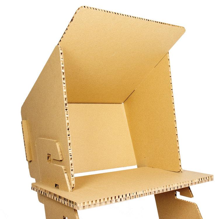 KarTent Kartonnen Zonnescherm voor Zit Sta Bureau
