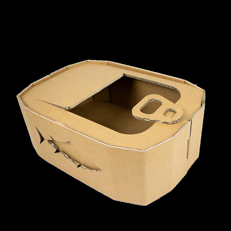 KarTent Cardboard Cat Basket as Tuna Can
