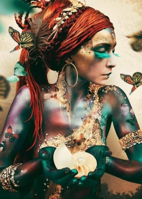 Art - Woman with Butterflies 180x120cm