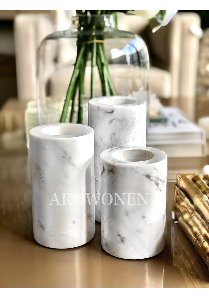 Tealight Holder - Marble White L