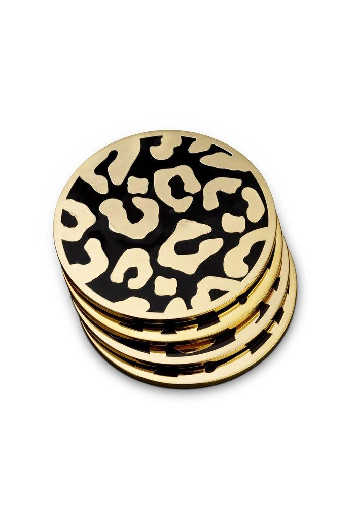 Like leo - Leopard Coasters (Set of 4) -  24k Gold Plated
