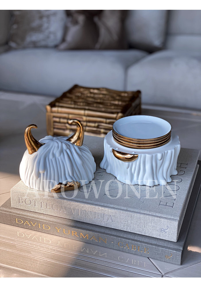Haas Lynda white Box + Plates (Set of 4)