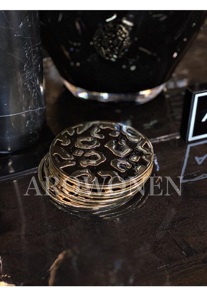 Like leo - Luipaard onderzetters (Set van 4)  -  24k Gold Plated