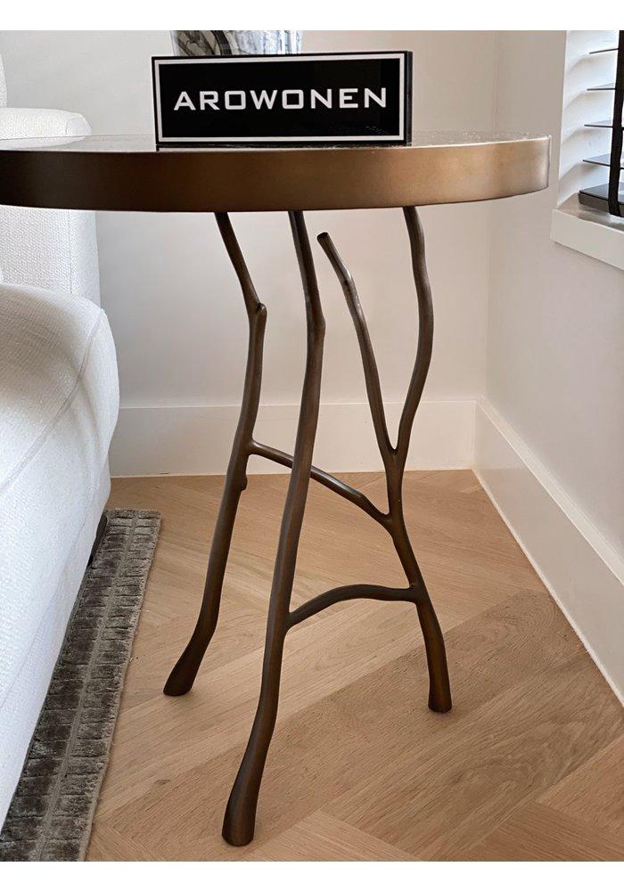Bijzettafel -  Mallory - bruin marmeren blad