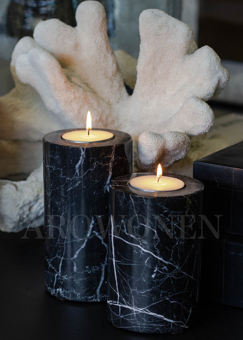 Tealight Holder - Black Marble - S