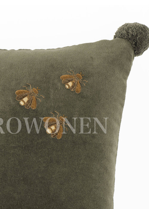 Decorative cushion  - Honey hoops green