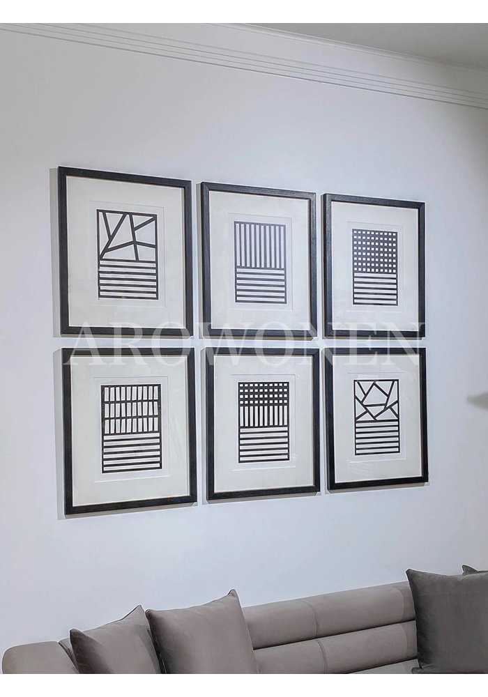 Frame - Prints /  monochroom art - set van 6