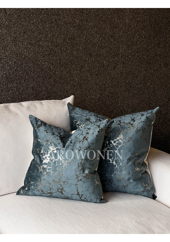 Decorative Cushion - Marble - Blue