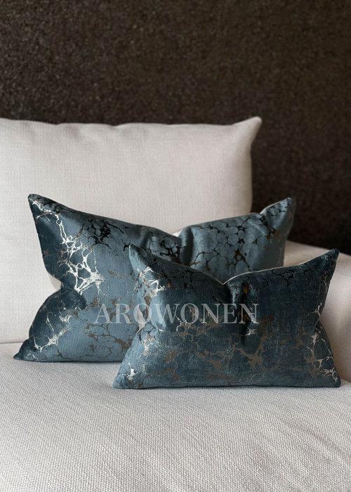 AROWONEN Decorative Cushion - Marble Blue Long