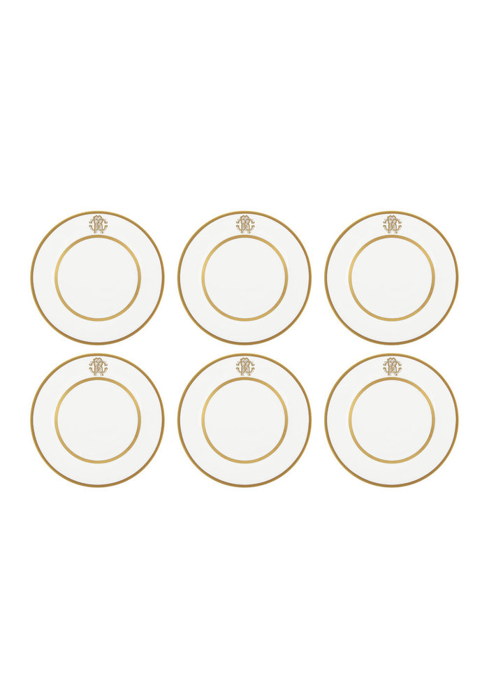 Silk Gold Dessert Plates - Set of 6