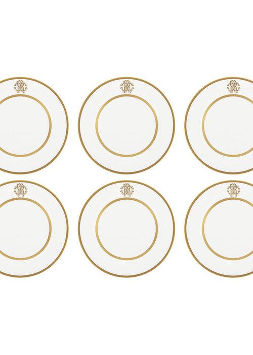 ✩ Roberto Cavalli  Silk Gold Bread/Butter Plates - Set of 6