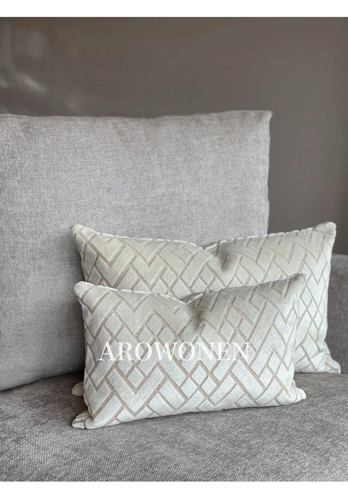 Decorative Cushion - Checkerd - Frosting Cream