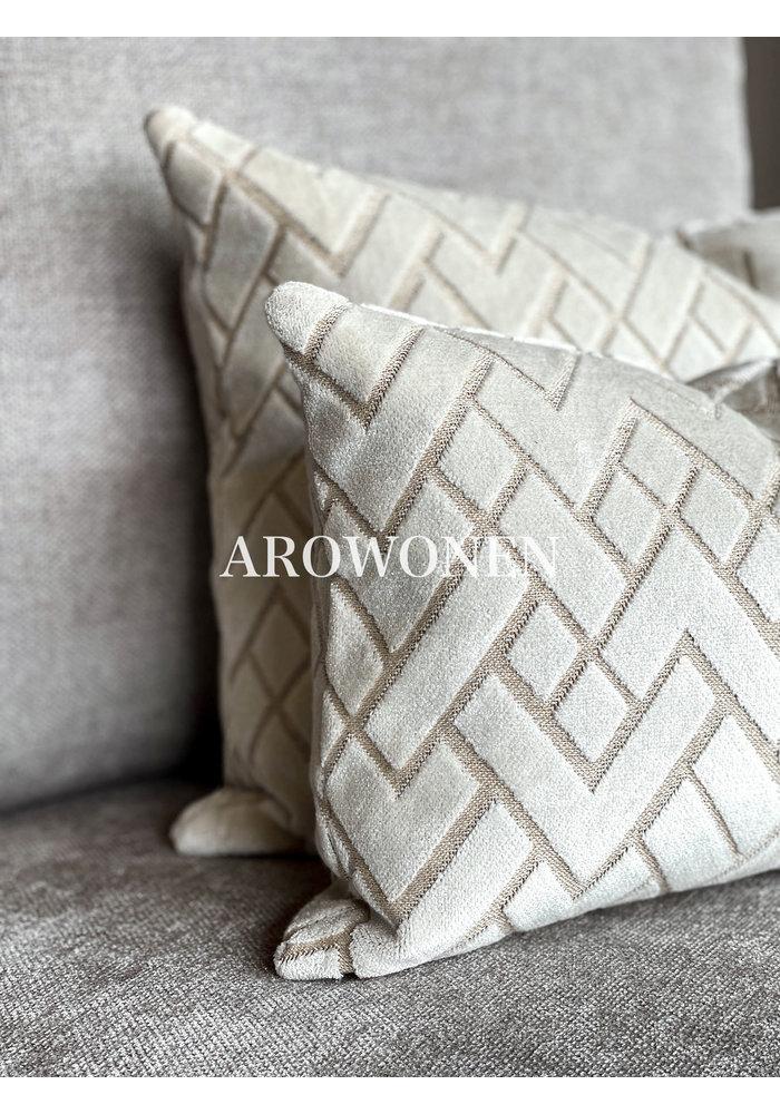 Decorative Cushion - Checkerd - Creme