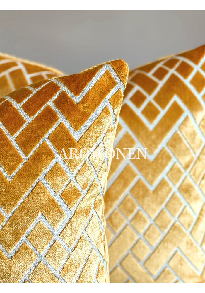 Decorative Cushion - Checkerd - Ochre