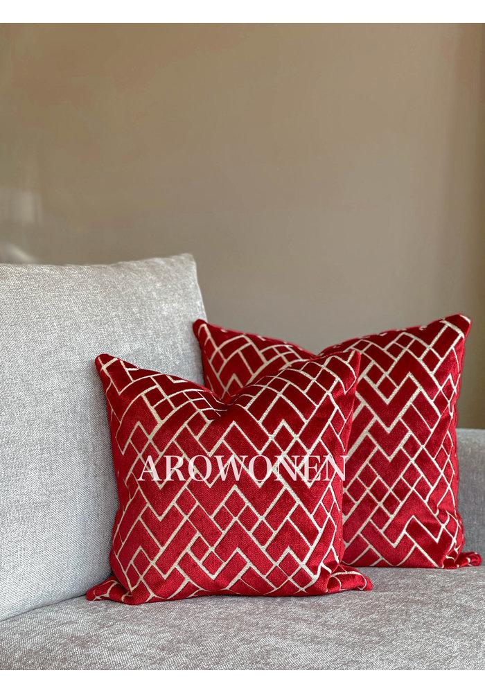 Decorative Cushion - Checkerd - Red
