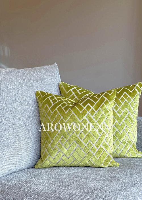 AROWONEN Decorative Cushion - Checkerd - Limoen