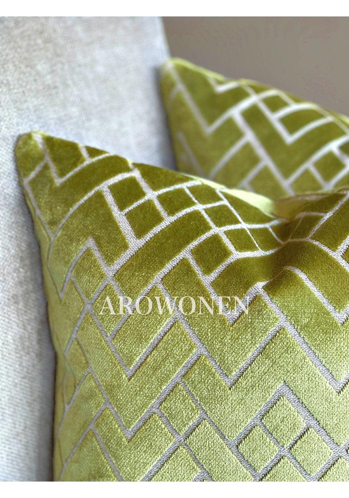 Decorative Cushion - Checkerd - Limoen