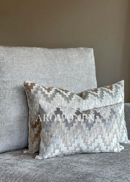 AROWONEN Decorative Cushion - Pyramid - Pearl