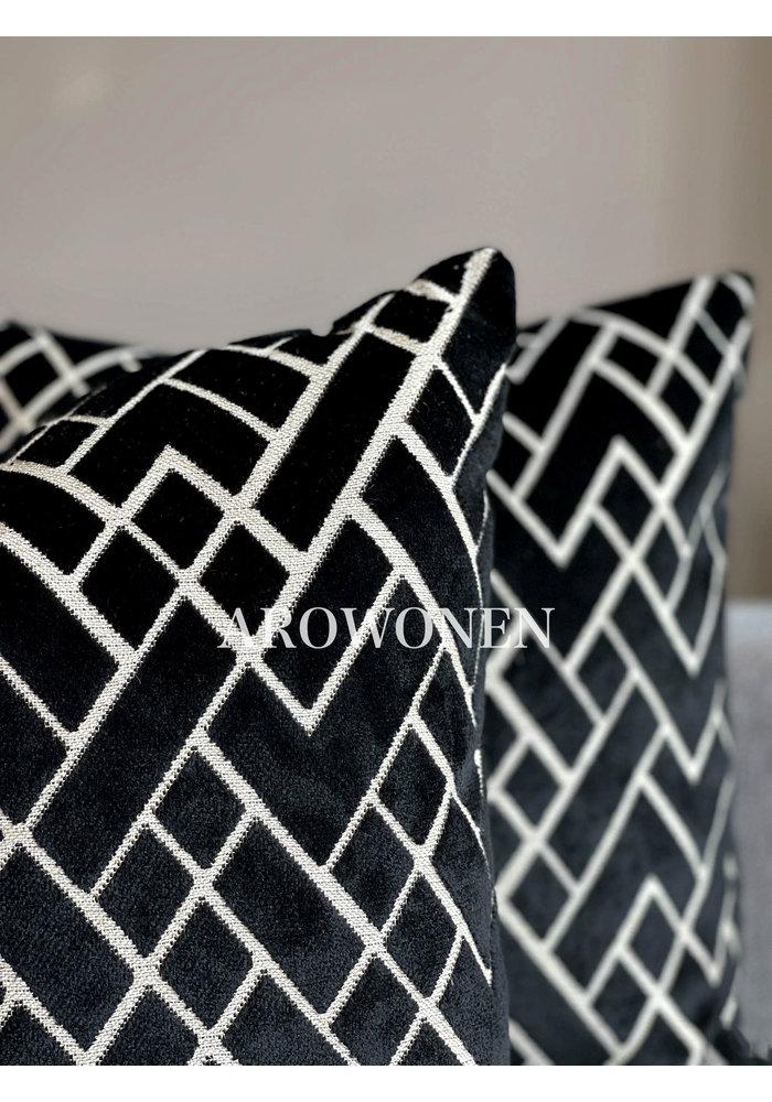 Decorative Cushion - Checkerd - Black