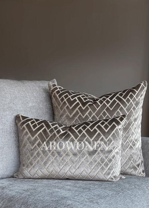 AROWONEN Decorative Cushion - Checkerd - Sand