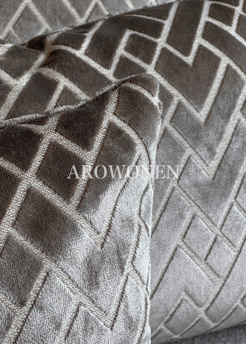 Decorative Cushion - Checkerd - Taupe