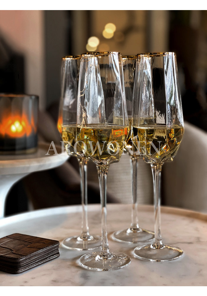 STORE ONLY - Champagne glas - Good as gold - Transparante glas met een gouden randje