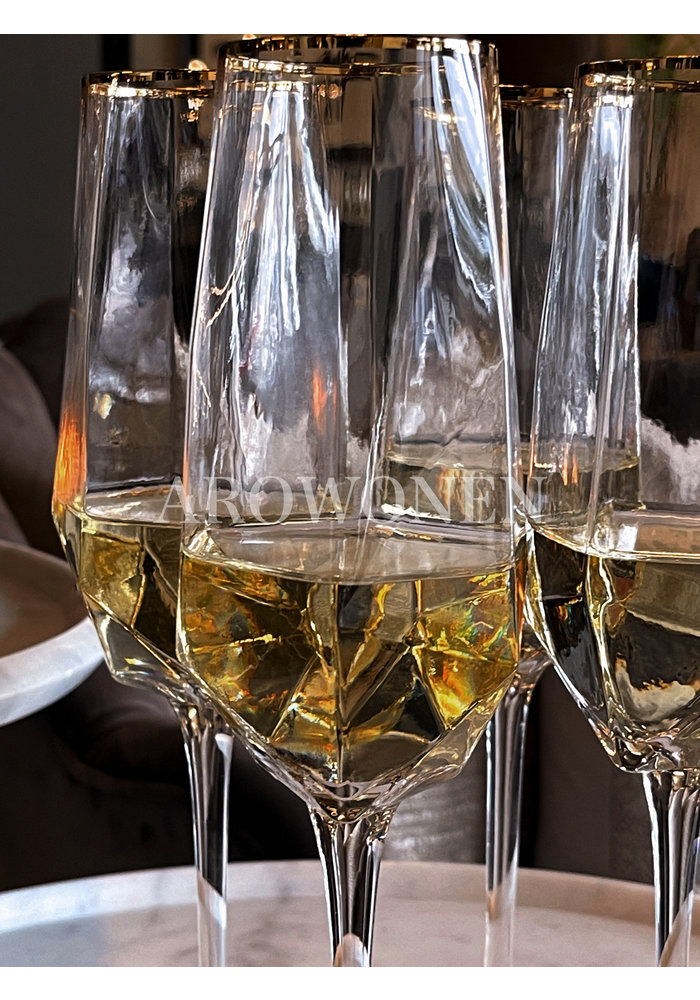 STORE ONLY - Champagne Glass - Good as gold  - Transparent glass with a golden edge
