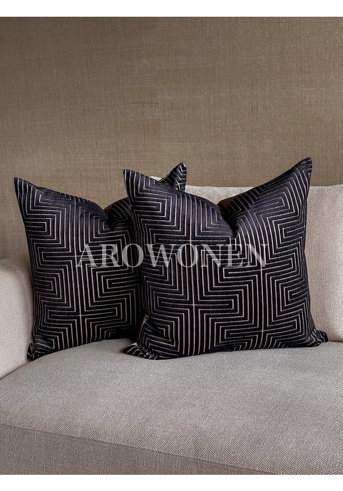 Decorative Cushion - The Maze - Black Taupe