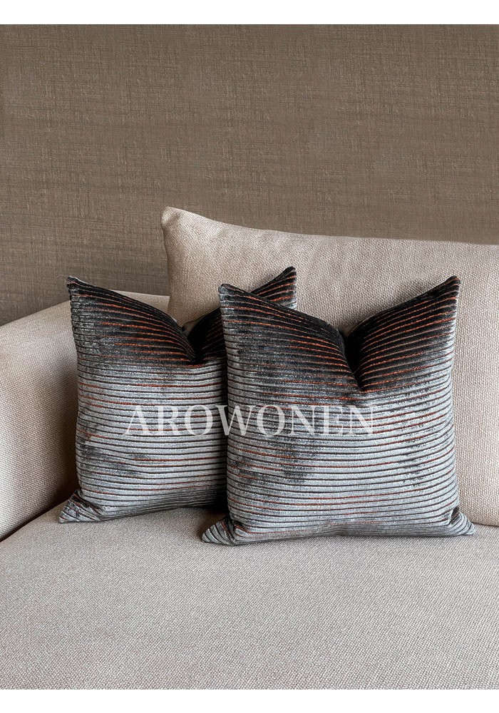 Decorative Cushion - Los Angeles - Burned Orange Grey
