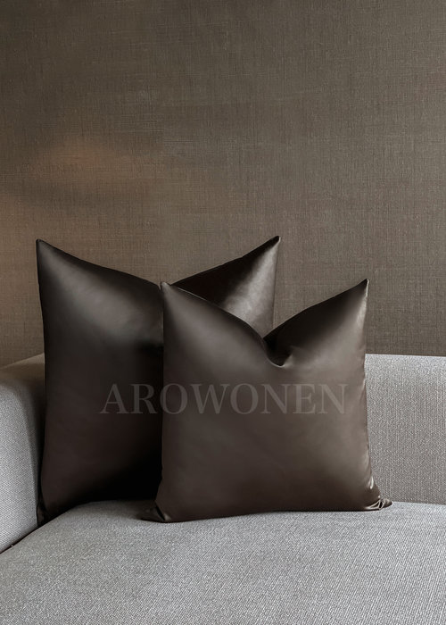 Decorative Cushion - Hester Satin - Shiny Brunette