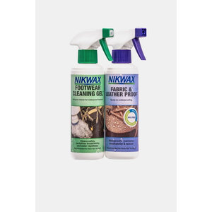 Nikwax Footwear Cleaning Gel  & Fabric Leather Spray - Twin Pack