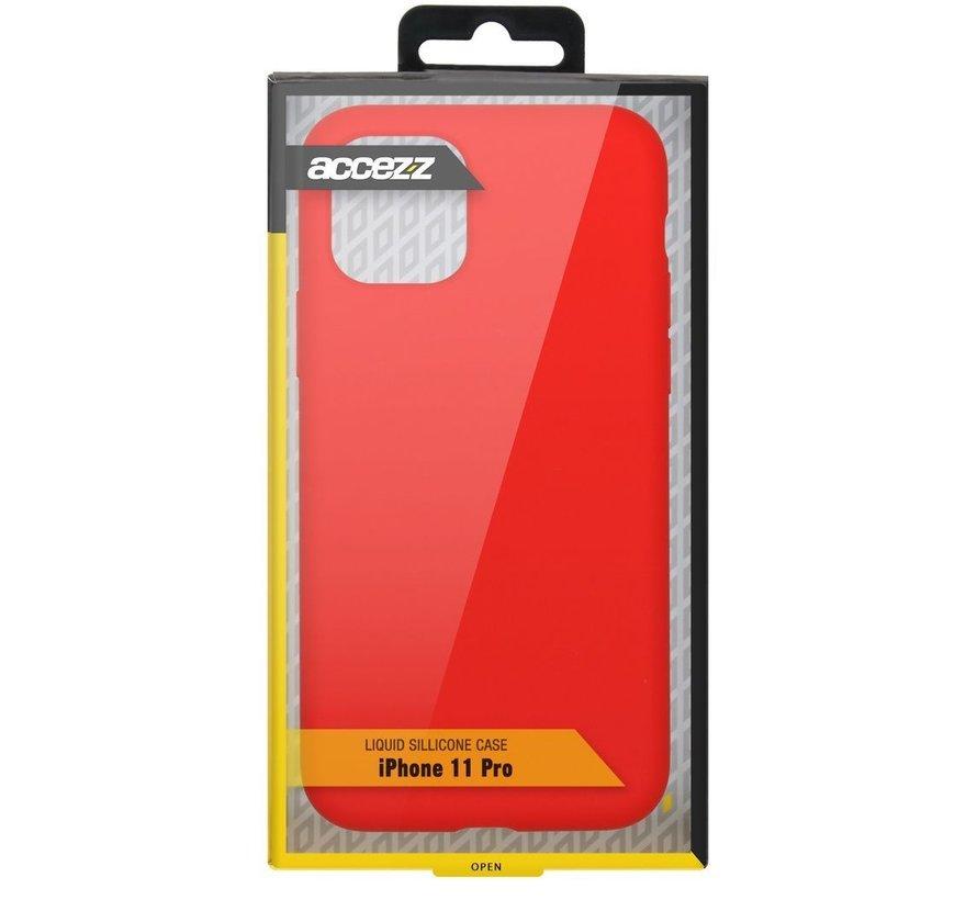 Accezz Liquid Siliconen Case iPhone 11 Pro Rood