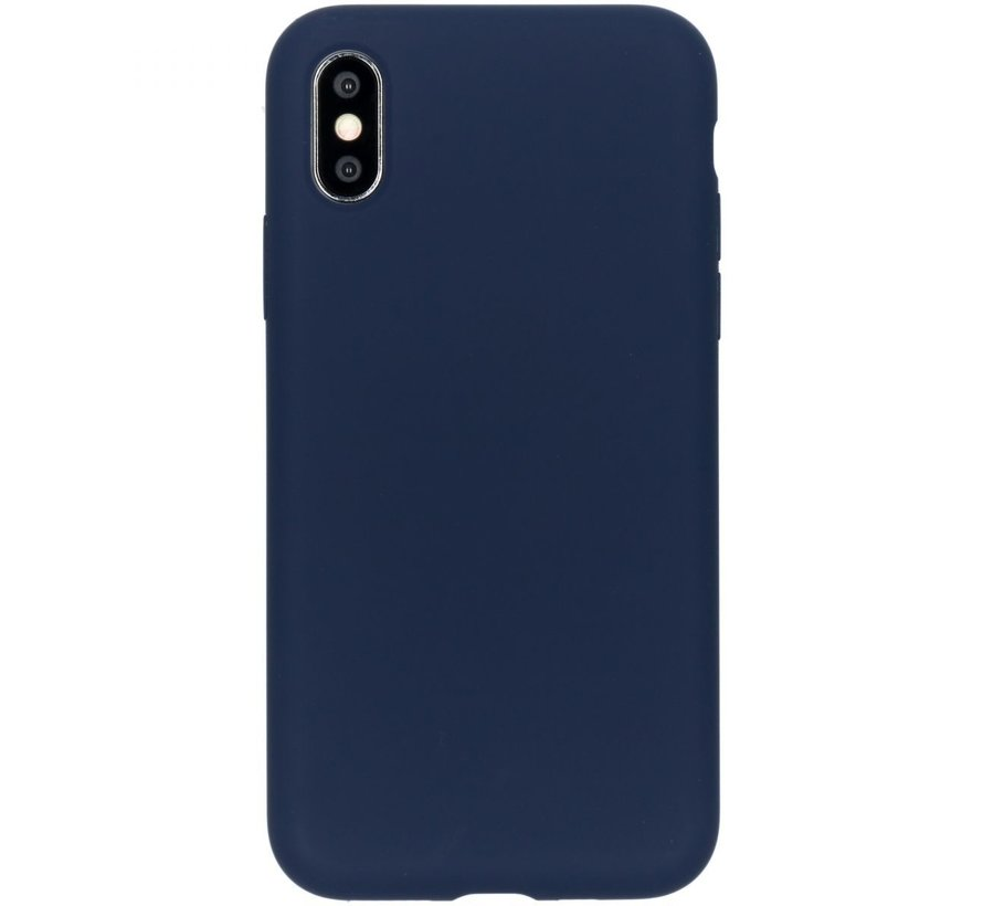 Accezz Liquid Siliconen Case iPhone XS/S Blauw