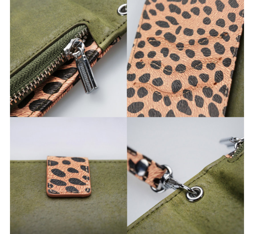 Mobilize 2in1 Gelly Wallet Zipper Case iPhone 8/7/6/6s Groen/Luipaard