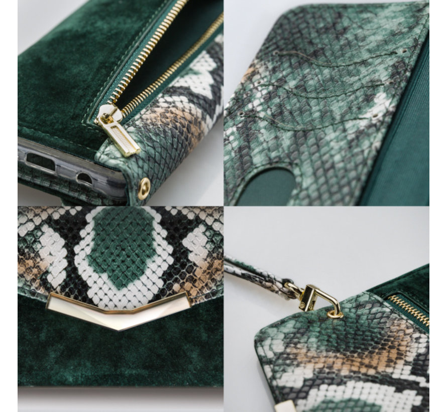 Mobilize Velvet Clutch Green Snake iPhone 11