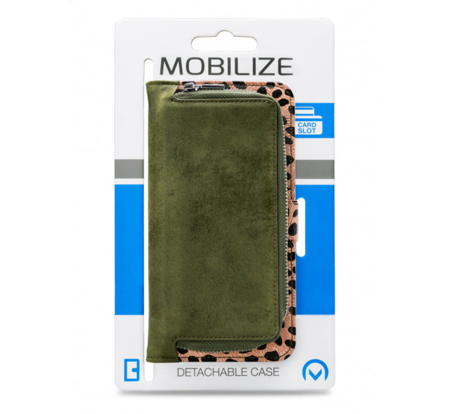 Mobilize 2in1 Gelly Wallet Zipper Case iPhone SE Groen/Luipaard