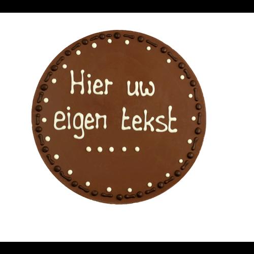 Eigen opschrift - Rond chocoladeplakkaat