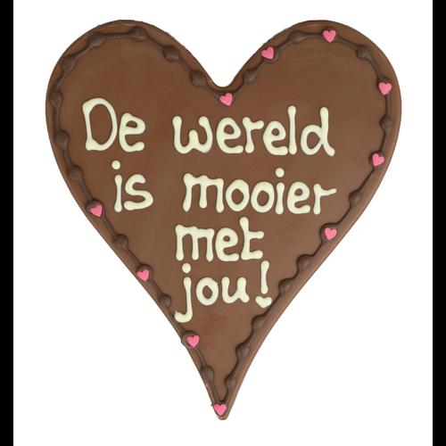 De wereld is mooier met jou! - Chocoladehart