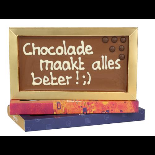 Chocolade maakt alles beter! - - Chocoladereep met tekst